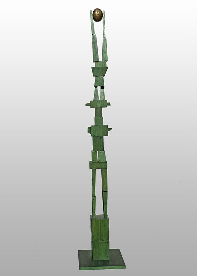 Balancing Act wood sculpture by Syd Dunton